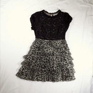 Twelve by Twelve Dresses - Black Lace & Leopard Print Tiered Dress